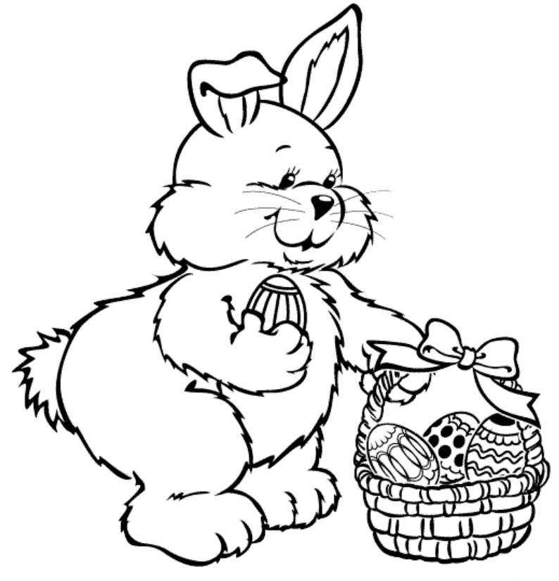Bunny Drawing An Egg Download Free Bunny Coloring Pages