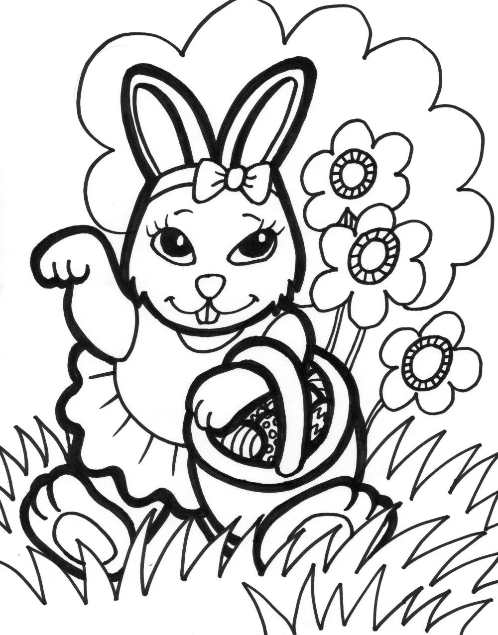 1000x1276 Easter Bunny Coloring Pages Printable For Amusing Draw Pict Kids
