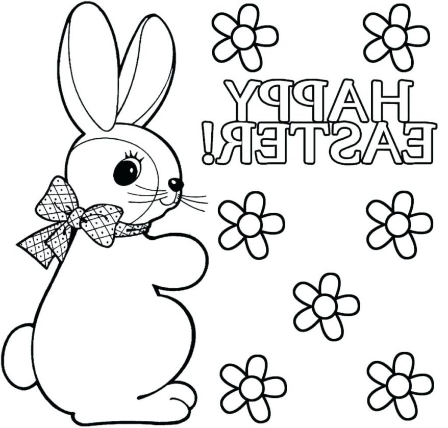 878x839 Bunny Drawing Coloring Only Pages 160 Astonishing Easter Pdf Bunny