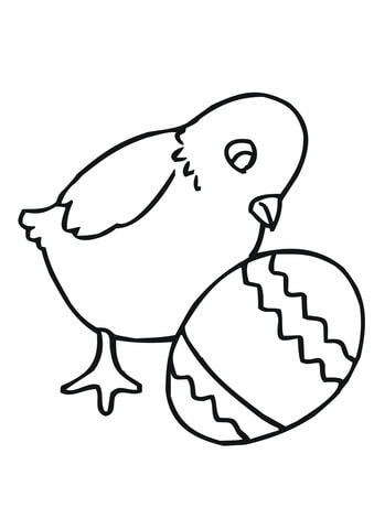 339x480 Easter Chick With Egg Coloring Page Free Printable Coloring Pages