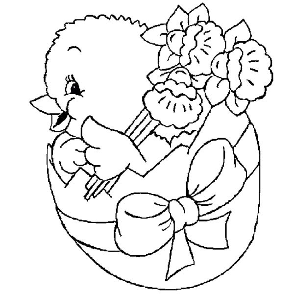 600x600 Easter Chicks Broken Egg Bring Flower Coloring Pages Best Place
