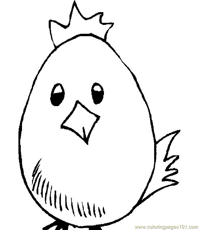 670x776 Egg Easter Chick Coloring Page