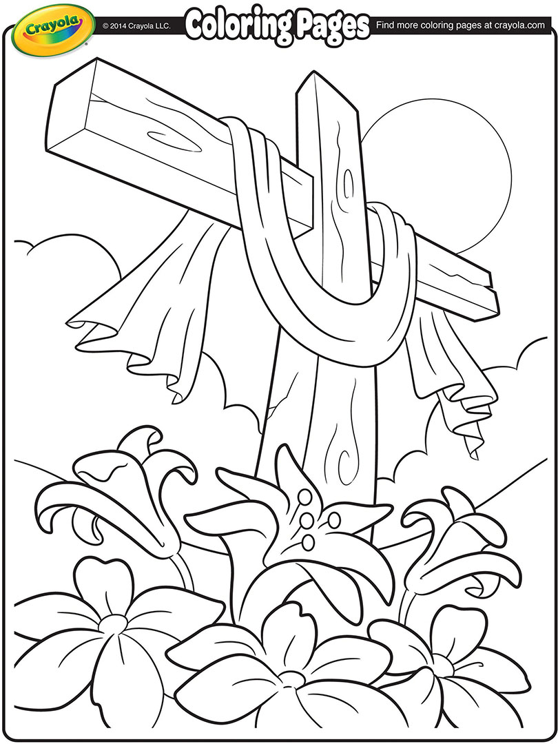810x1080 Easter Cross Coloring Page