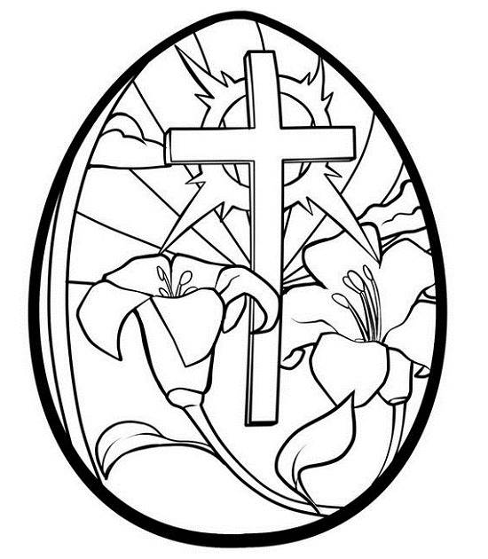 550x630 Easter Cross And Flowers In Egg Pictures To Colour, Draw, To Color