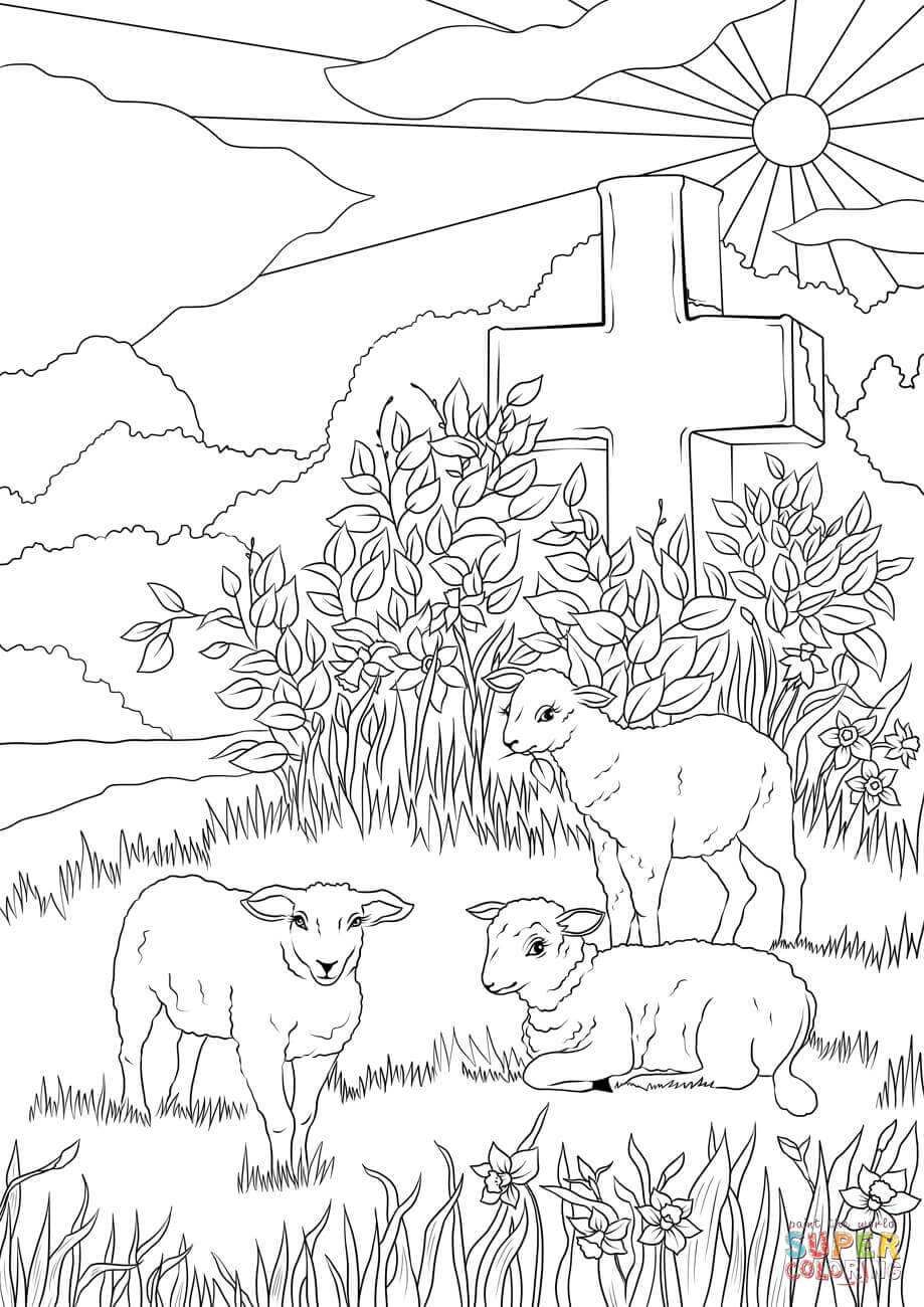 919x1300 Easter Lambs And Jesus's Cross Coloring Page Free Printable