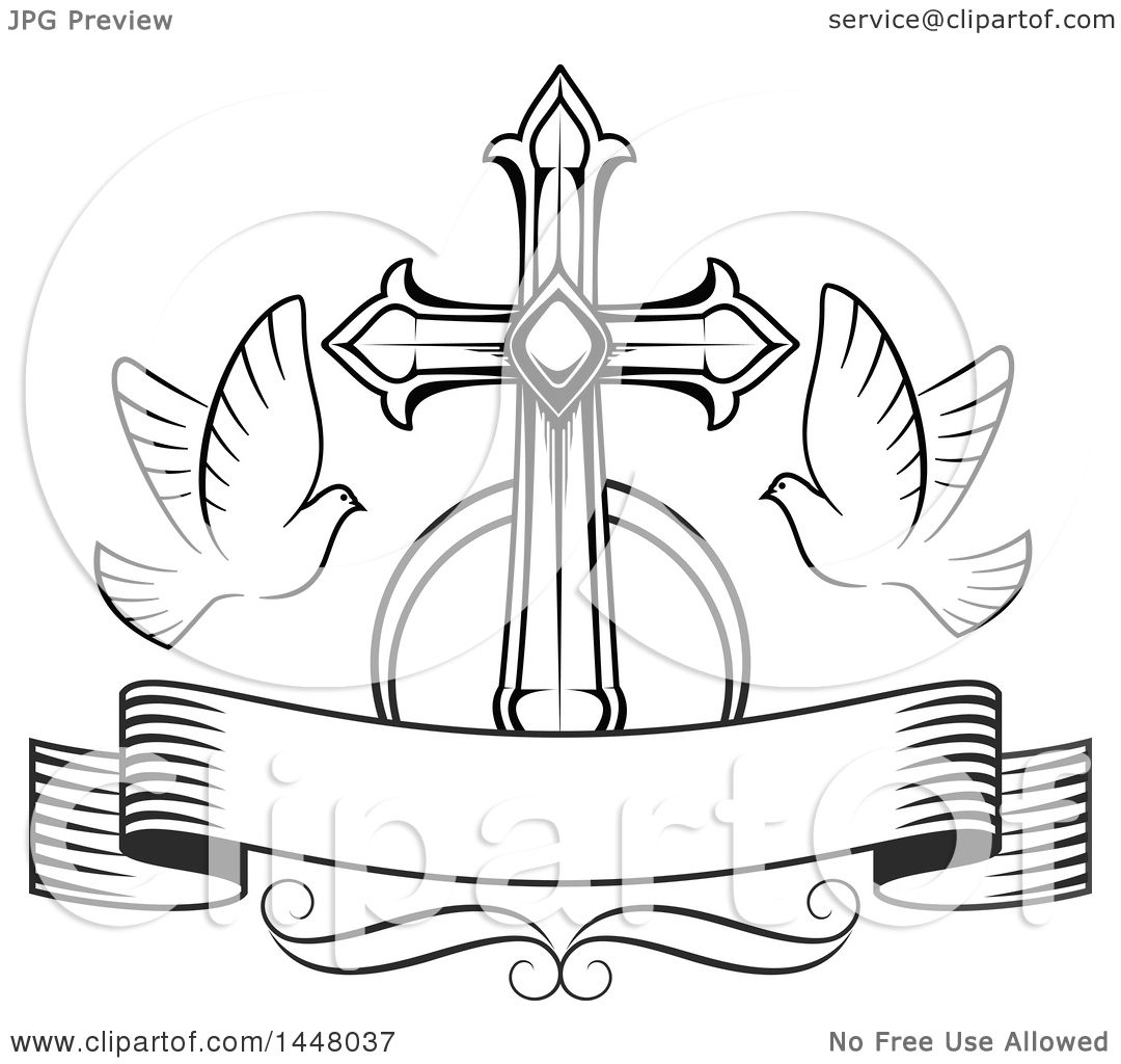 1080x1024 Clipart Of A Black And White Easter Cross With Doves And A Blank