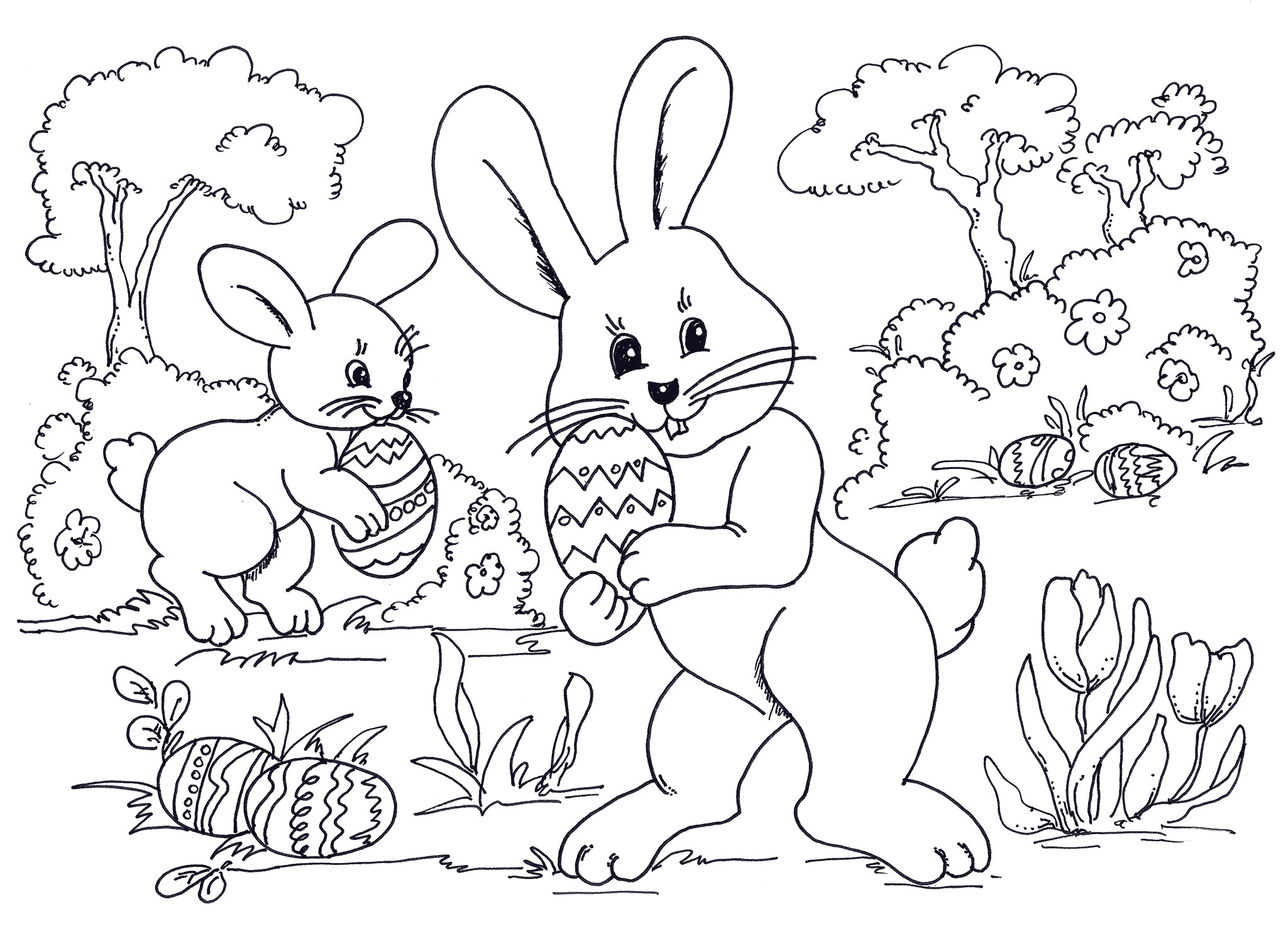 2049x1500 Happy Easter Day Colouring Printable Crafts Coloring