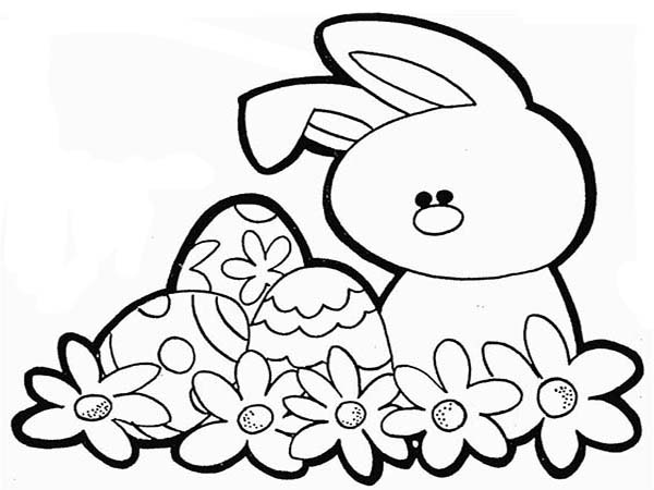 600x450 How To Draw A Rabbit And An Easter Eggs Coloring Page