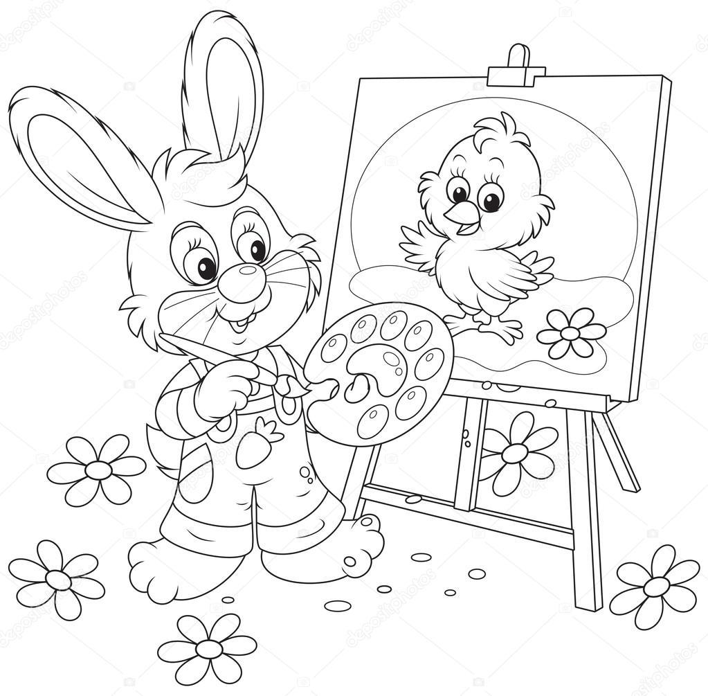 1023x1005 Easter Bunny Drawing Stock Vector Alexbannykh