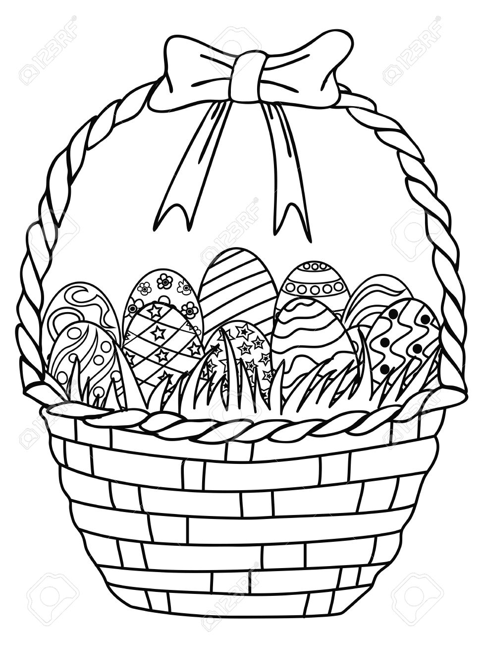Easter Egg Basket Drawing at GetDrawings.com | Free for personal use ...