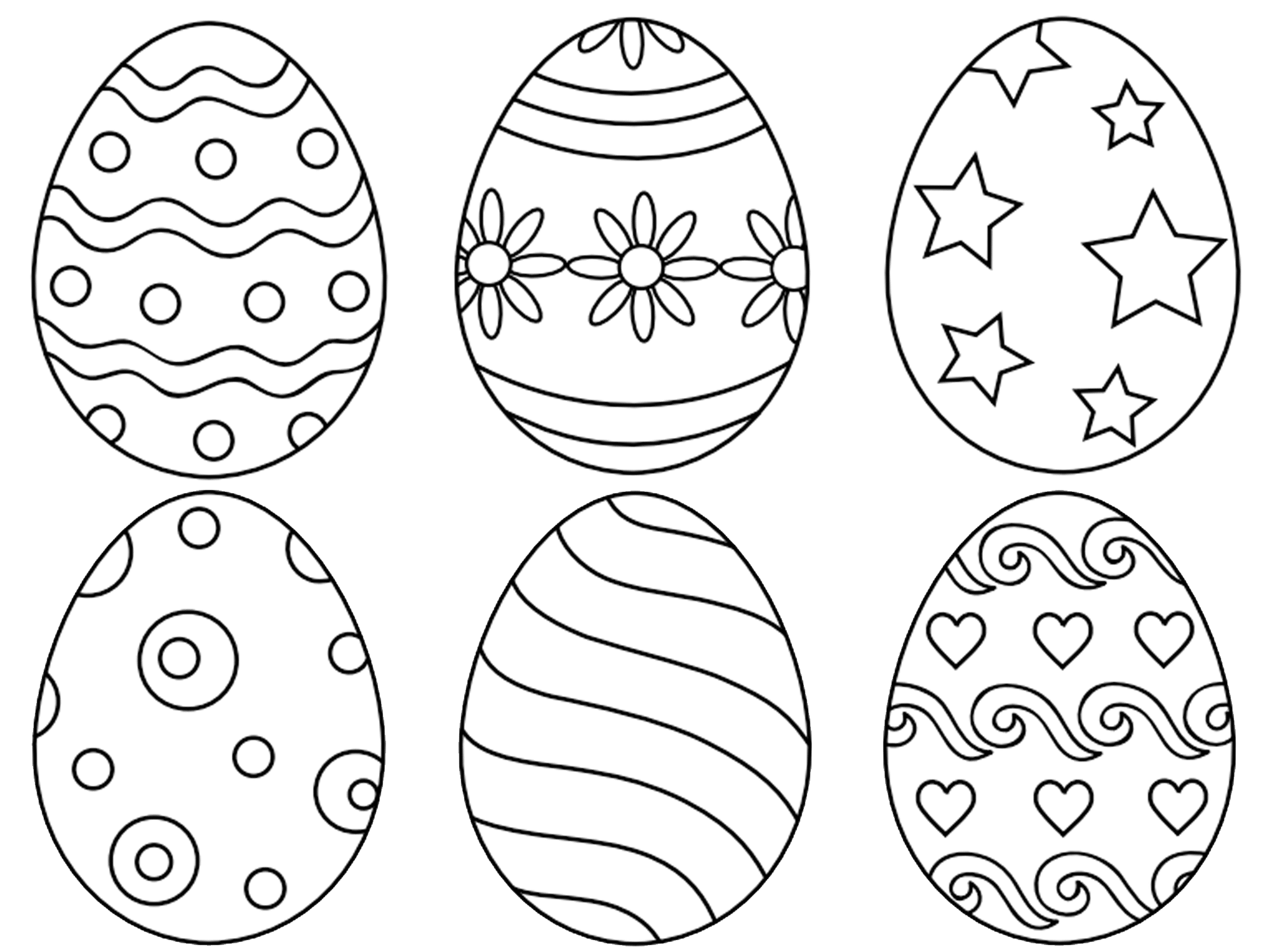 Elegant 2000x1500 Easter Eggs Coloring Pages