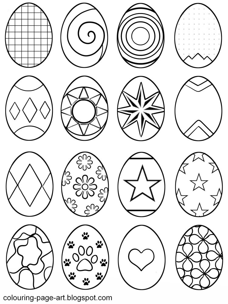 750x1000 Blank Easter Egg Templates Colouring Page Art