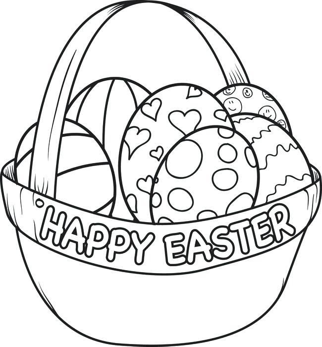 650x700 Coloring Pages Of Eggs Egg Basket Page