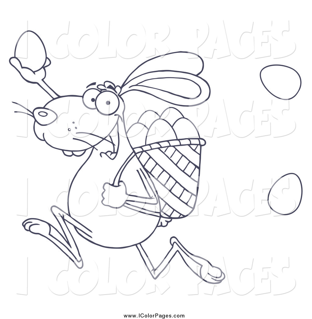 1024x1044 Vector Coloring Page Of A Black And White Bunny Participating