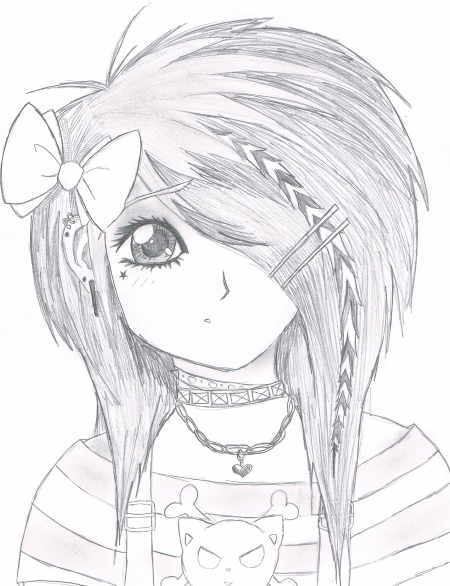 900x1172 Easy Anime Things To Draw Easy Anime Drawings Emo Scene Gurl By