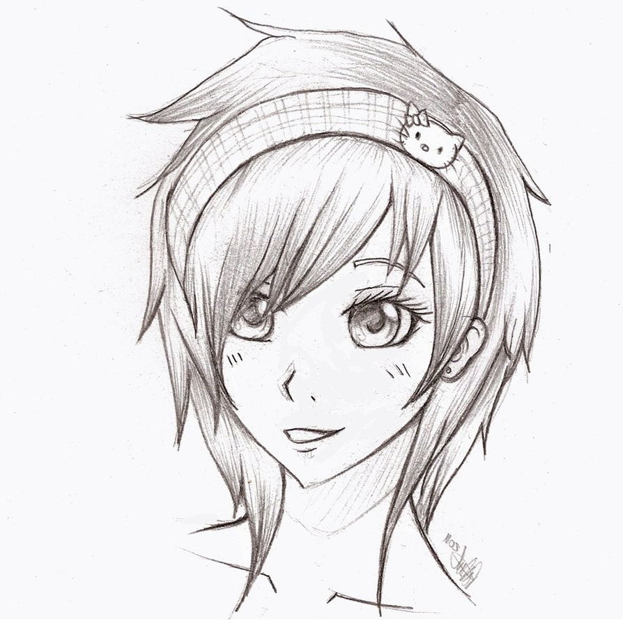 894x894 Drawing Easy Anime Girl By Pencil