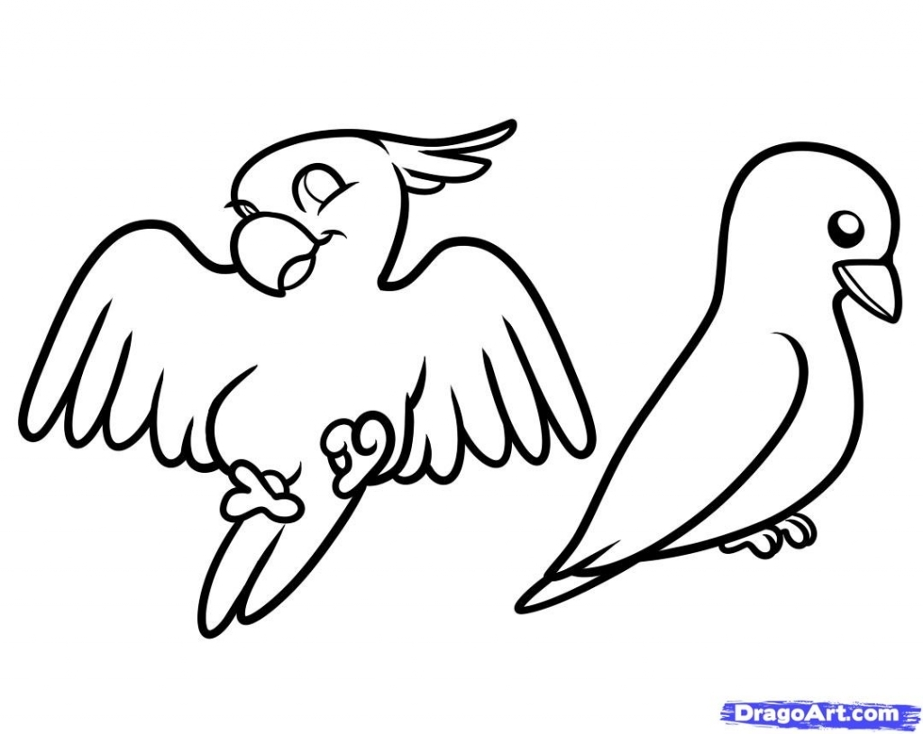 1024x815 Simple Bird Drawing How To Draw Birds For Kids Step Step Animals