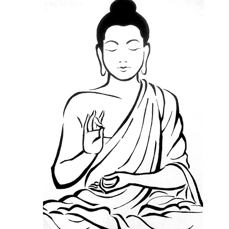 894x894 Drawing Of A Buddha Simple Buddha Drawing