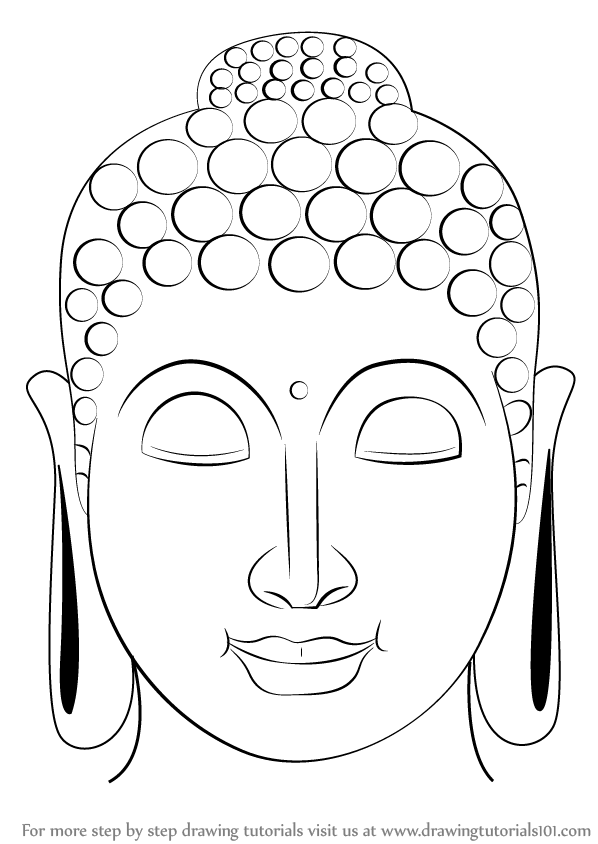 598x844 Learn How To Draw Buddha Face (Buddhism) Step By Step Drawing