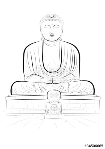 354x500 Vector Drawing Color Giant Buddha Monument In Kamakura, Japan