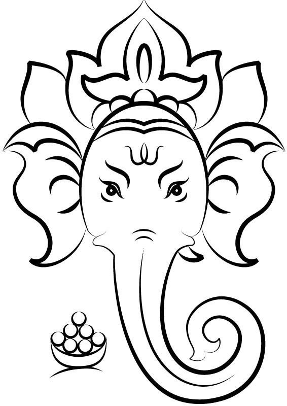 566x800 Simple Ganesh Line Drawings