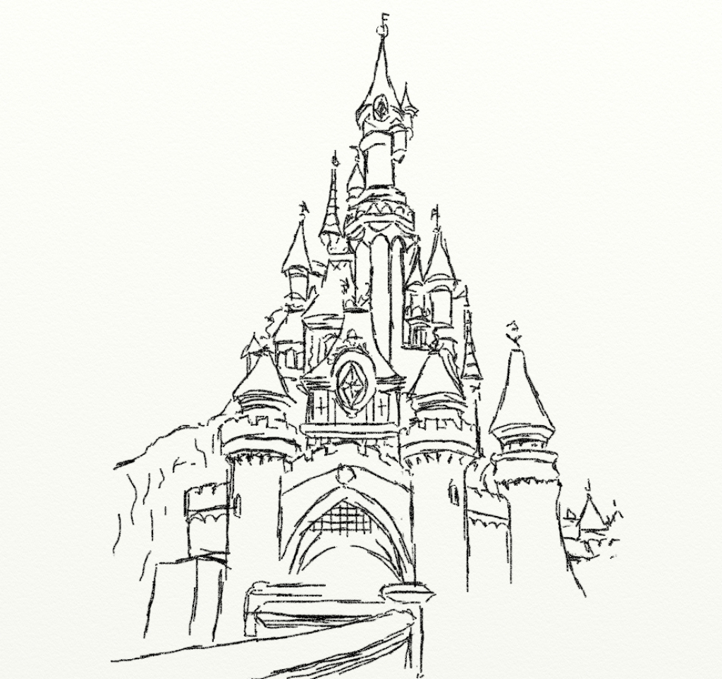 Line Drawing Disney : Easy castle drawing at getdrawings free for personal