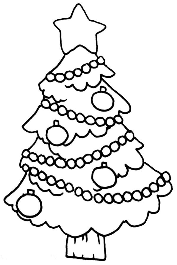 600x900 easy christmas tree coloring page - Christmas Tree Pictures To Color