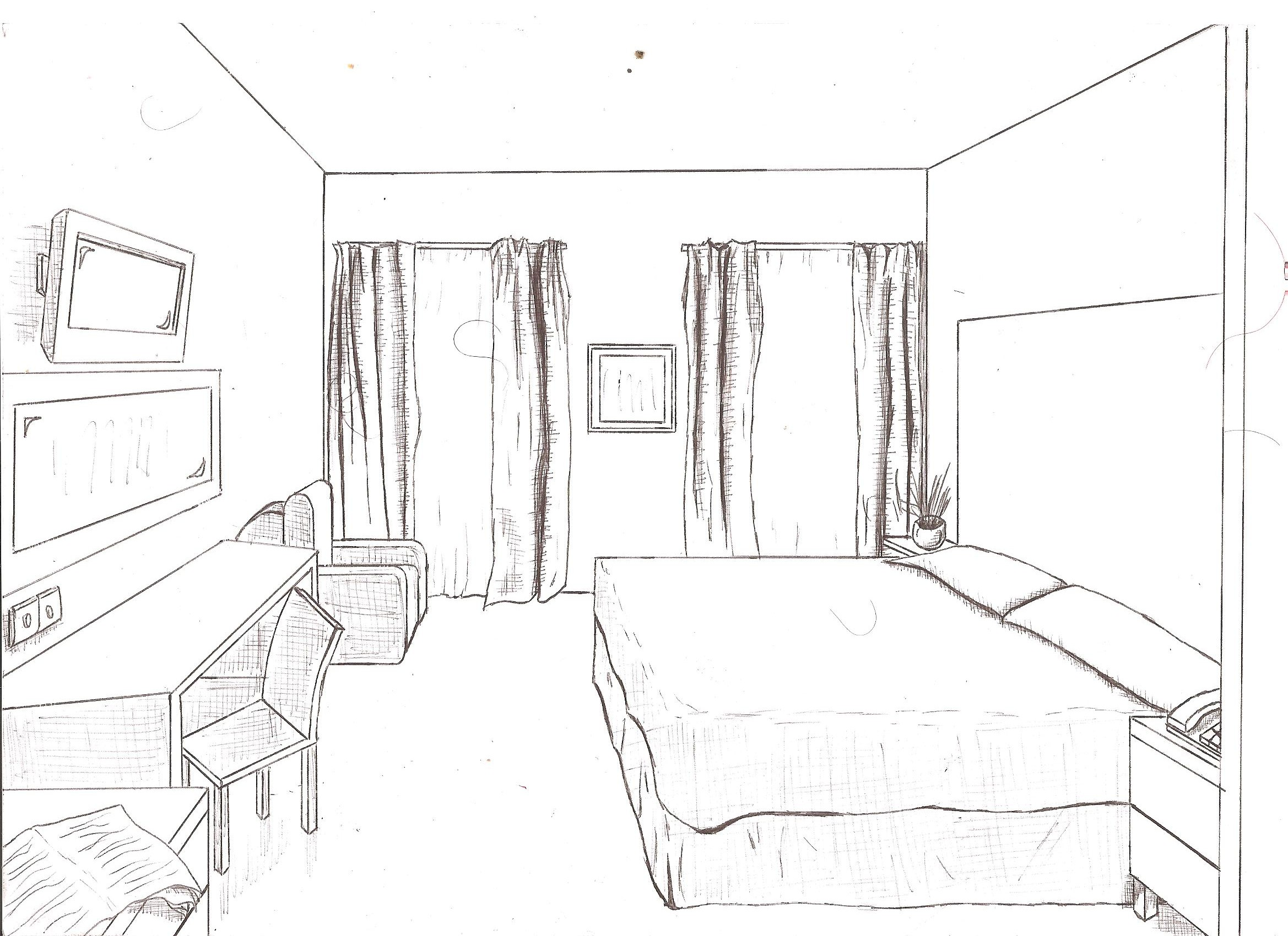 2338x1700 One Point Perspective Drawing Ppt Two Kitchen How To Draw Room