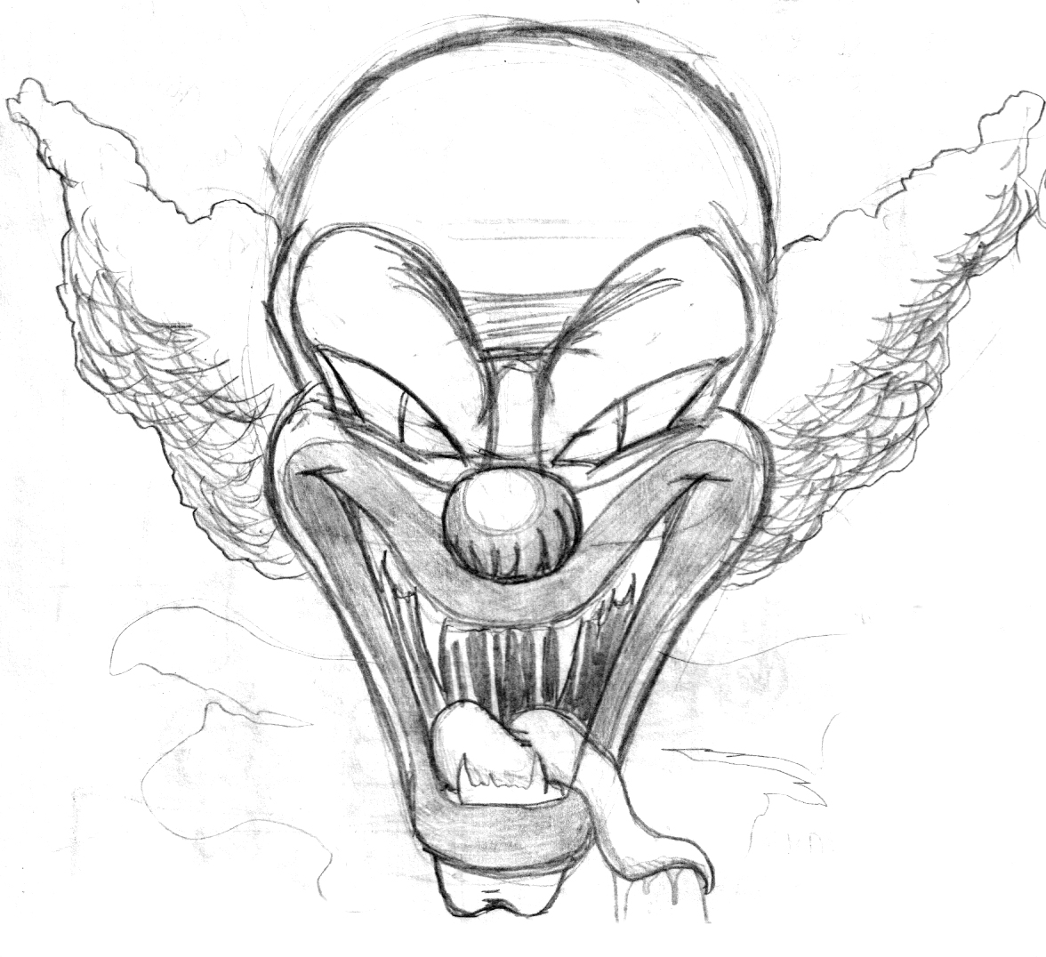 1176x1076 Drawings Of Clowns Scary Clown Pencil Drawings Evil 3 By Colo