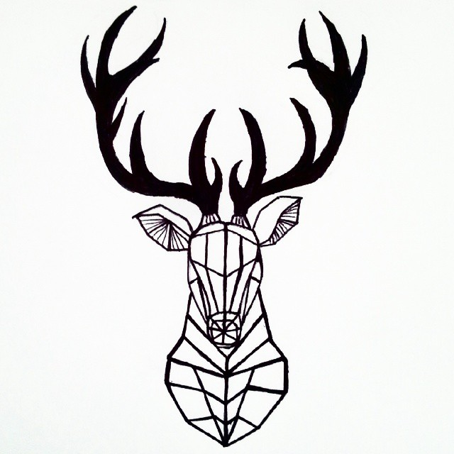 640x640 Geometric Deer Head Tattoo Idea