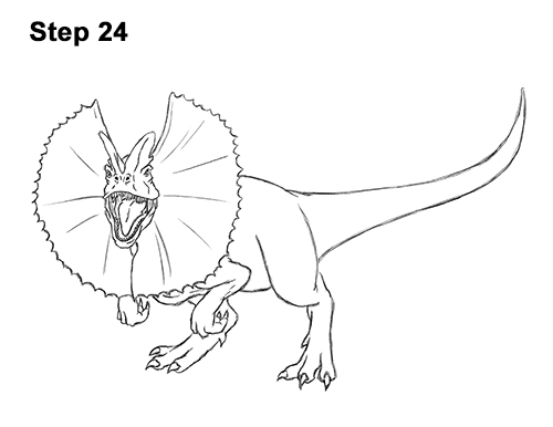 500x386 how to draw a dilophosaurus
