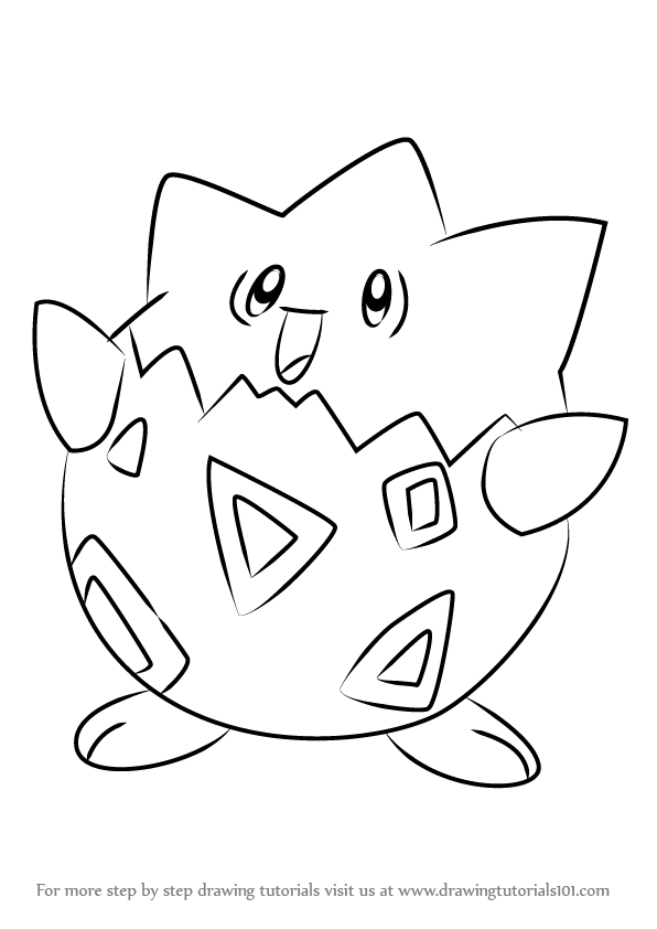 596x842 Learn How To Draw Togepi From Pokemon (Pokemon) Step By Step