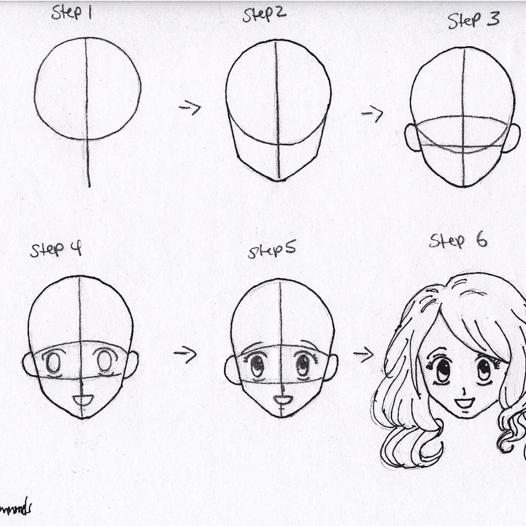 1024x1024 Easy To Draw Anime Girl Step By Step Drawing Faces For Beginners