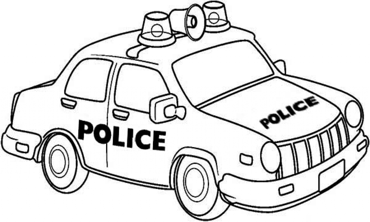 1280x768 Easy Police Car Coloring Pages