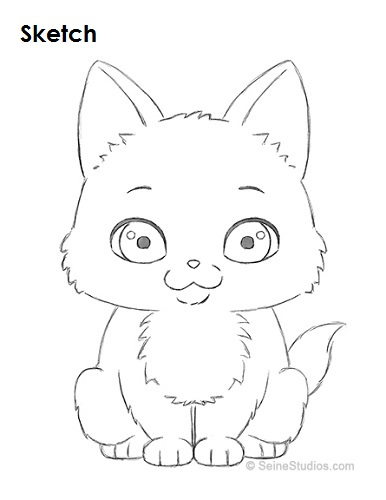 386x500 How To Draw A Cartoon Kitten