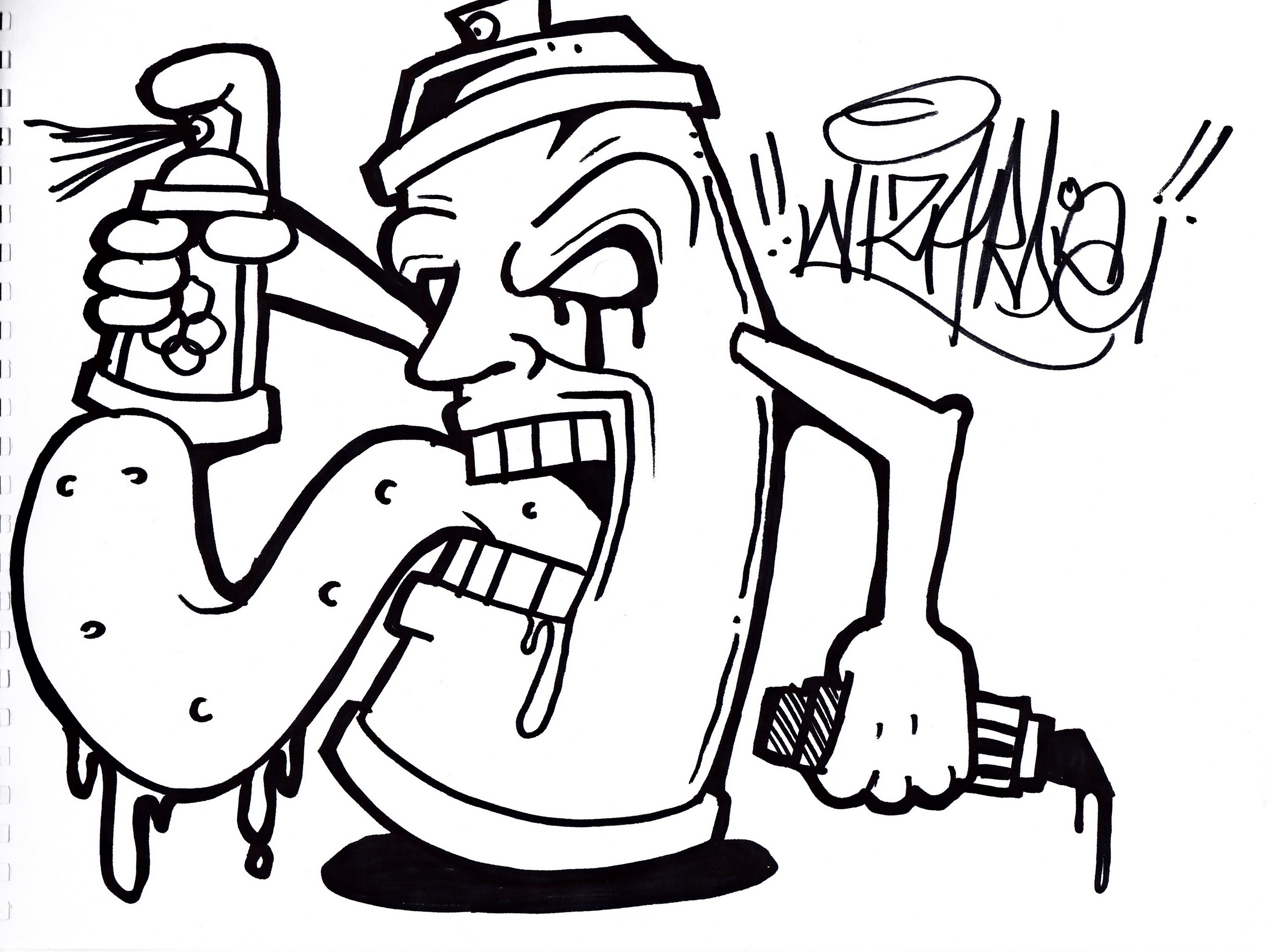3000x2248 Graffiti Character Easy Drawing