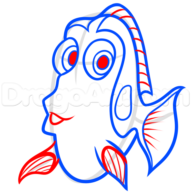 745x765 drawing dory easy step 5 Drawing Pinterest Easy, Draw and