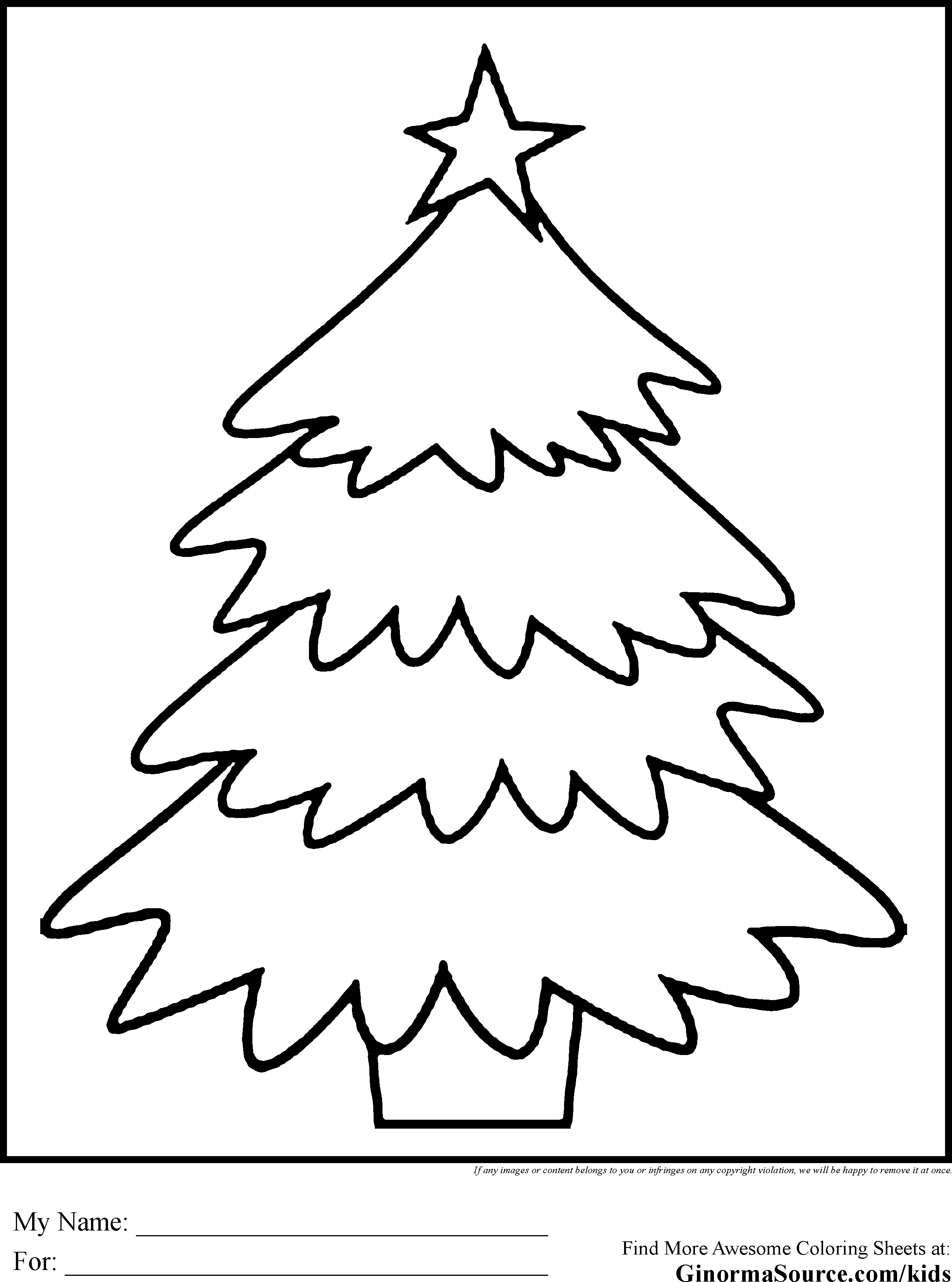 2459x3310 Simple Christmas Tree Coloring Pages SS Pinterest