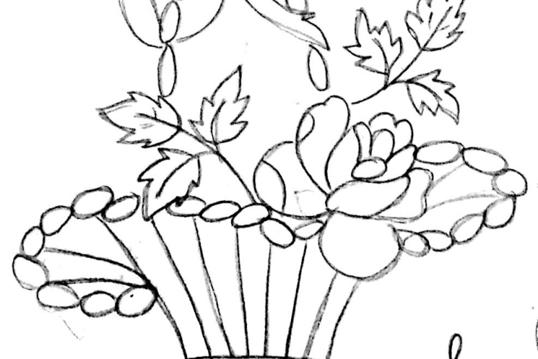 780x520 Easy Drawing Of Flowers Pot Design Drawing Of Sketch, Easy Flower