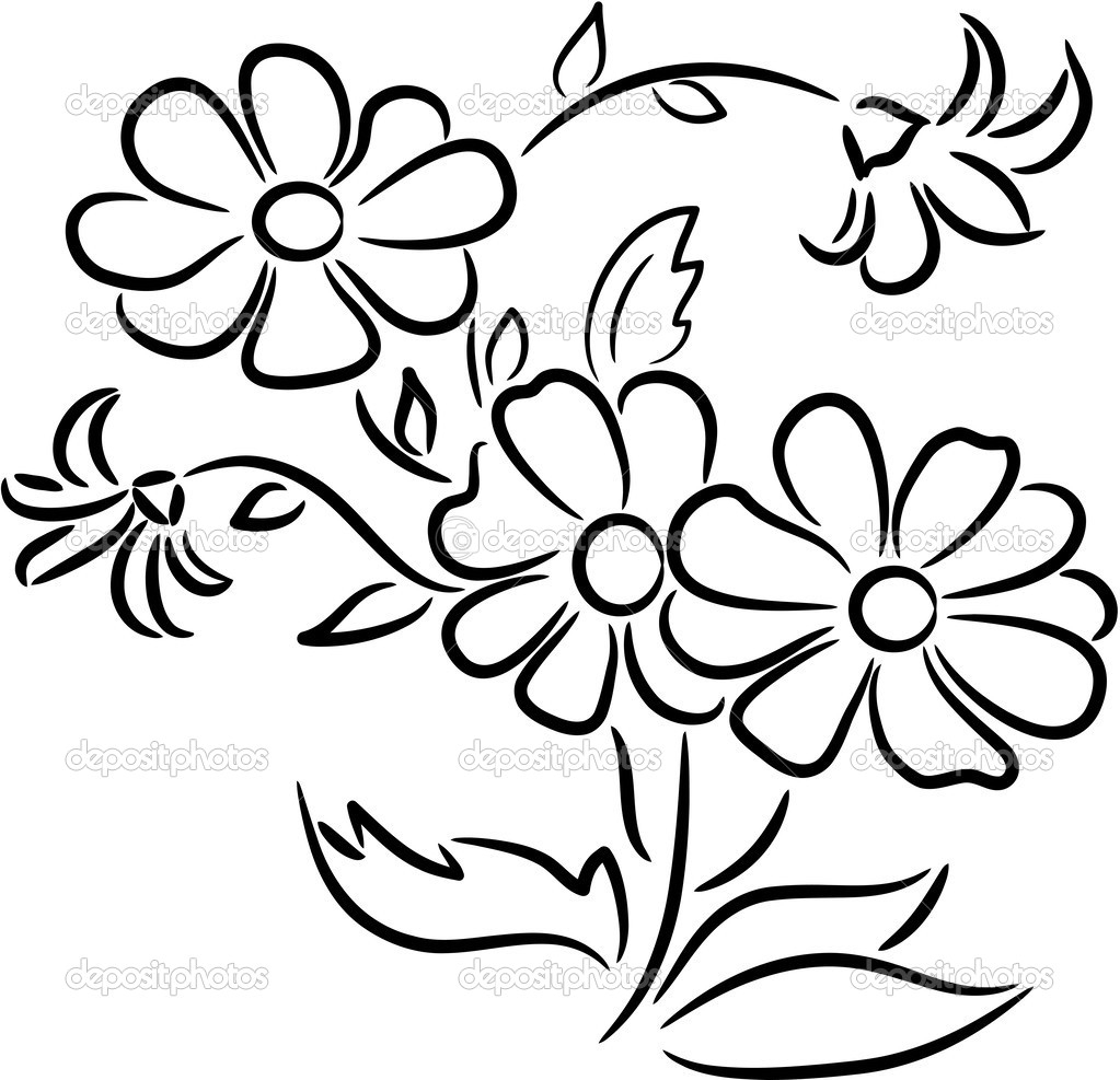 1023x987 Bunch Of Flowers Drawing Easy