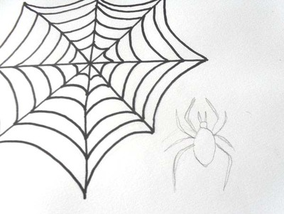 400x301 draw a spiderweb and spider for halloween - Simple Halloween Drawings