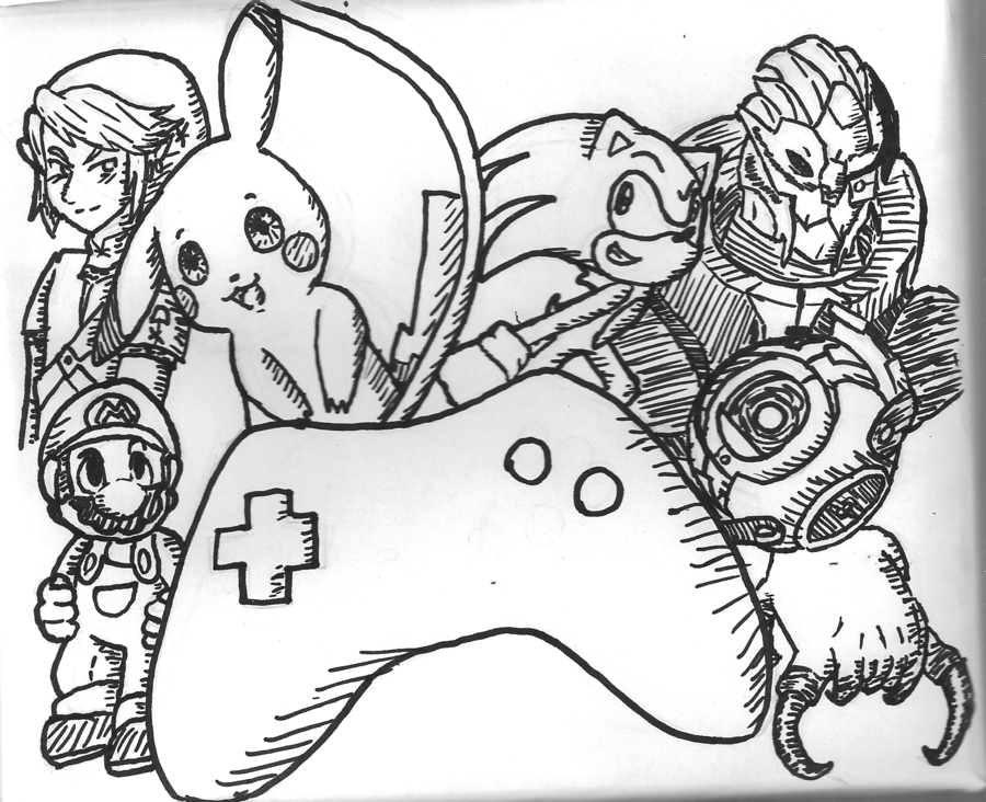 900x732 Videogames Sharpie Doodle By AngelicCharizard On DeviantArt
