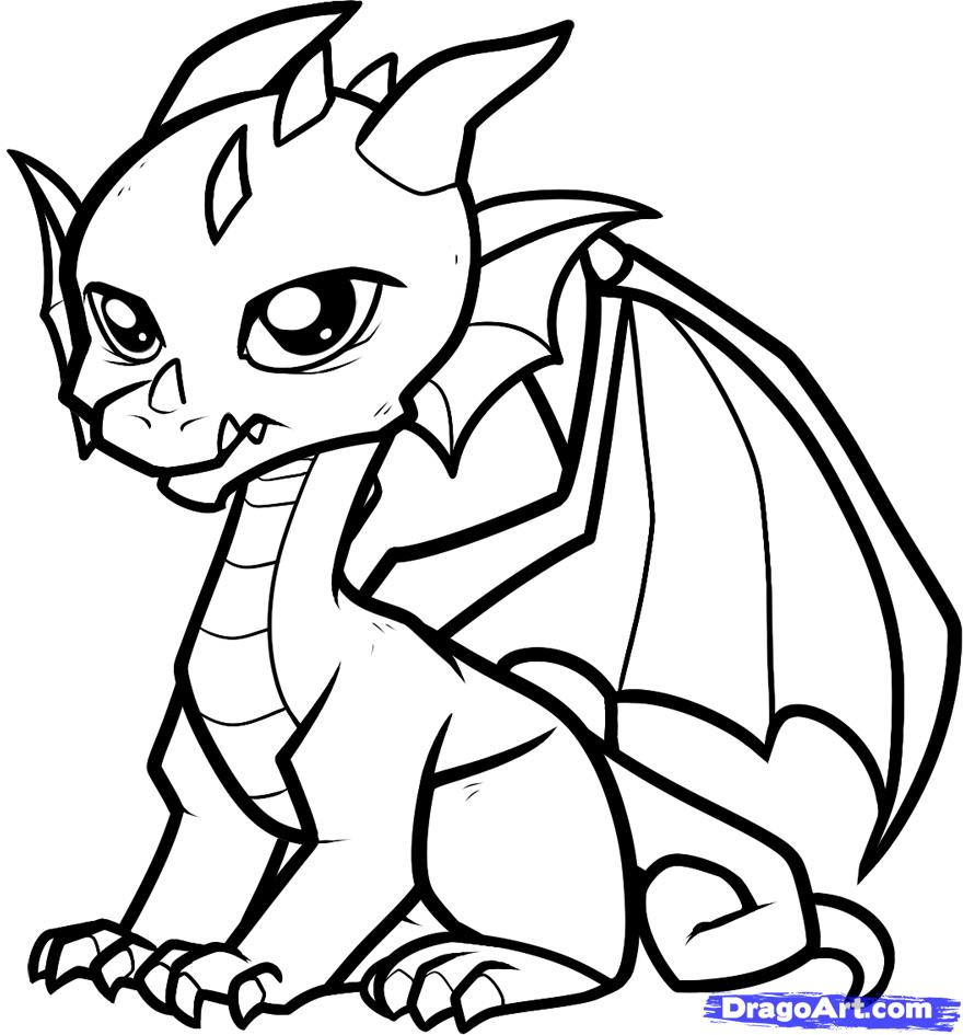 880x945 Coloring Pages Draw A Simple Dragon Easy Drawing Dragons Colouring