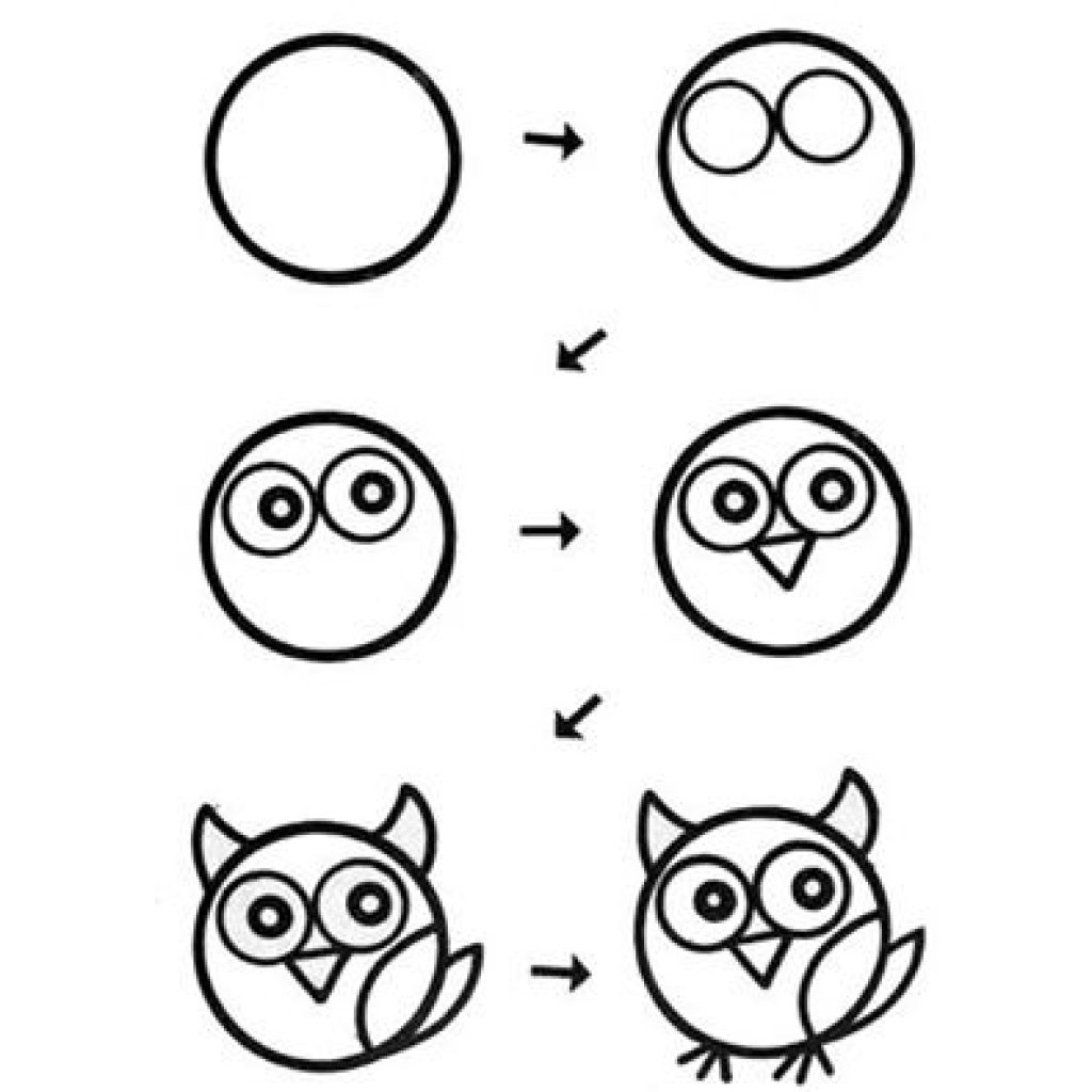 1024x1024 Drawing Owls Step By Step Owl Drawing Stepstep