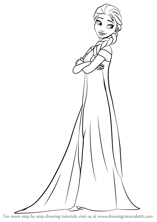 598x844 Learn How To Draw Elsa From Frozen Fever (Frozen Fever) Step By