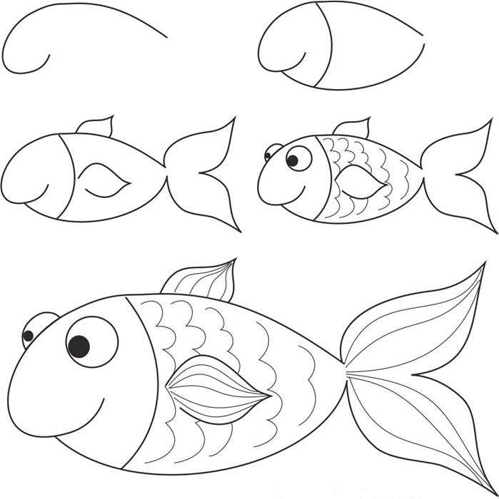 699x700 how to draw a simple fish step by step with pencil part 4