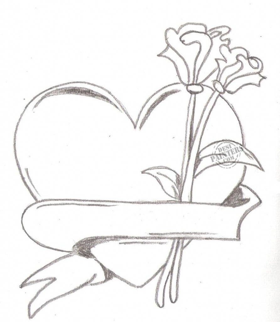 892x1024 Hearts With Roses Drawings Pencil Sketches Of Hearts And Roses