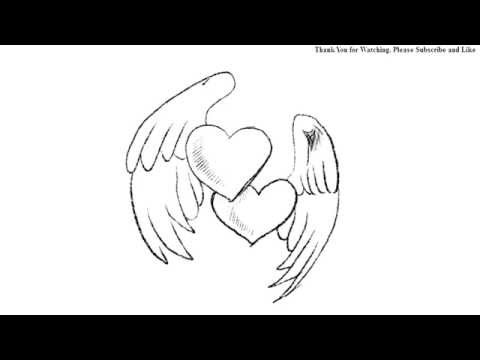 480x360 How To Draw Hearts With Wings Simple Line Drawing Yzarts