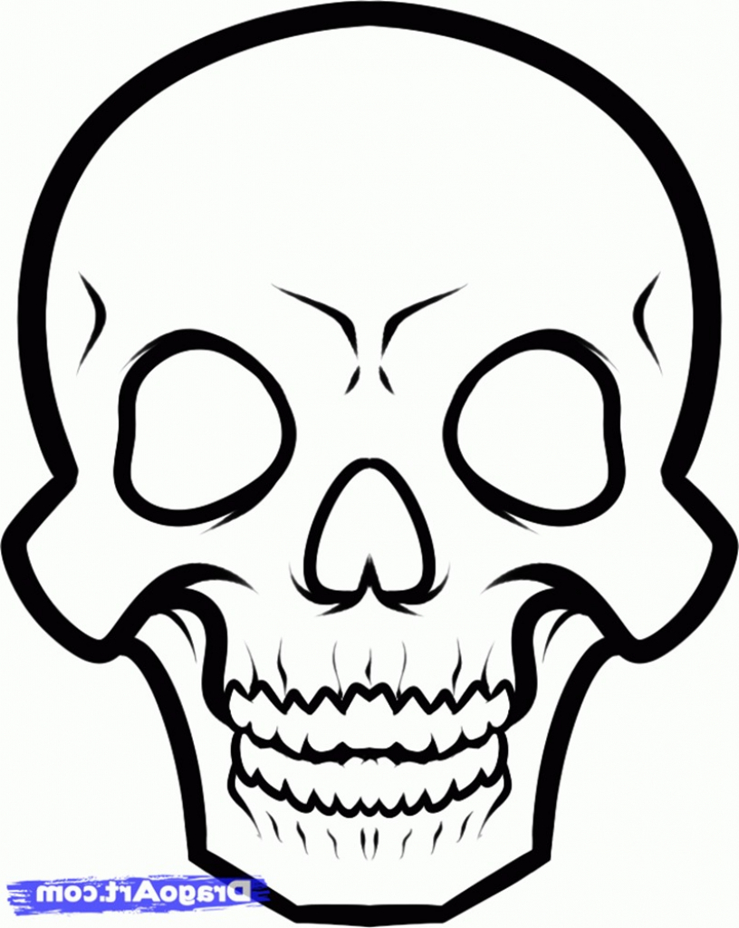 816x1024 Skull Face Drawing Easy Drawings Of Skulls Free Download Clip