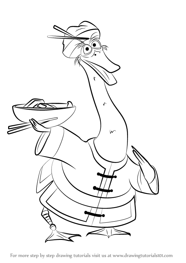 596x842 Learn How To Draw Mr. Ping From Kung Fu Panda 3 (Kung Fu Panda 3